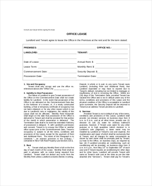 office rental lease template