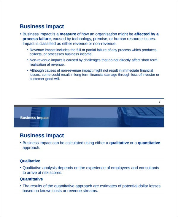 Business impact analysis template design templates for Business impact analysis template for banks