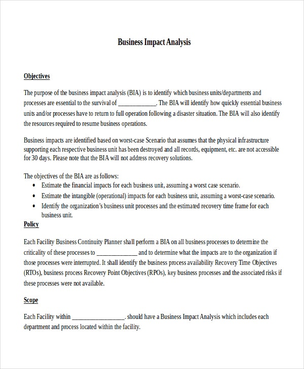 Impact Analysis Template   Free Word Pdf Documents Download