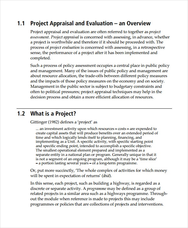 Project Appraisal and Impact Analysis