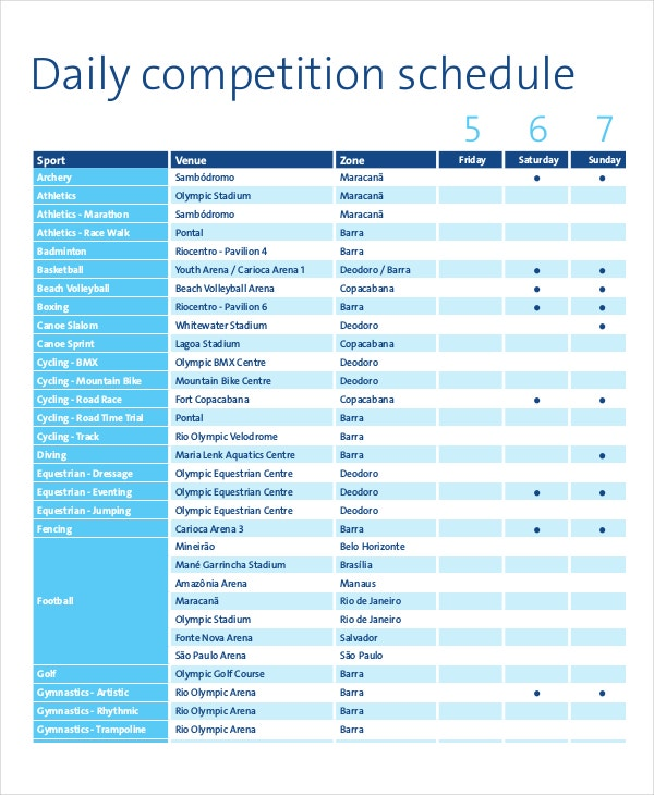 Daily Sports Competition Schedule Template