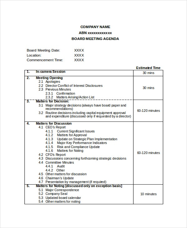 Company meeting agenda template 7 free word pdf document company board meeting agenda template flashek Image collections
