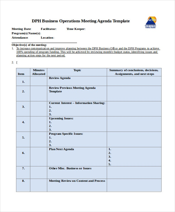 Business Operations Meeting Agenda Template