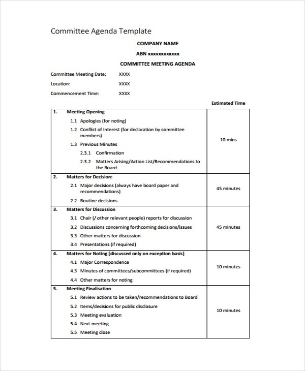 Commitee Meeting Agenda Template