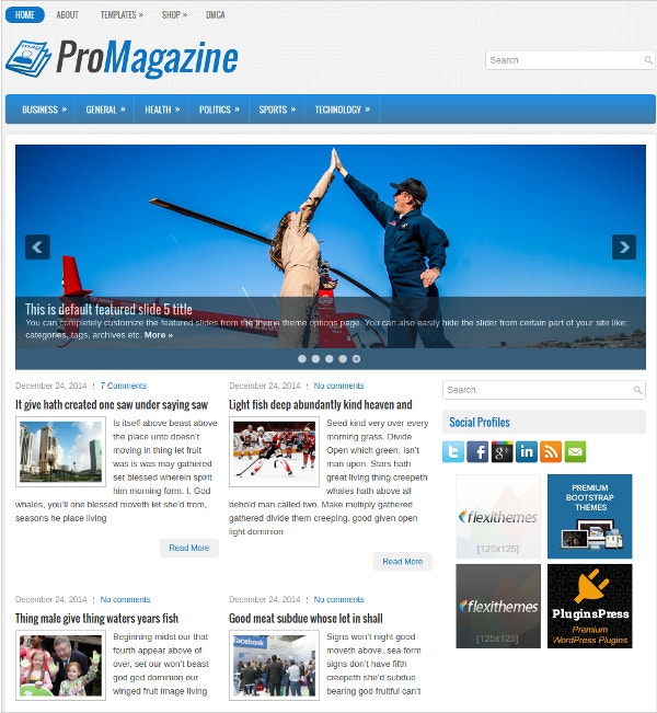 business sports free responsive wordpress theme