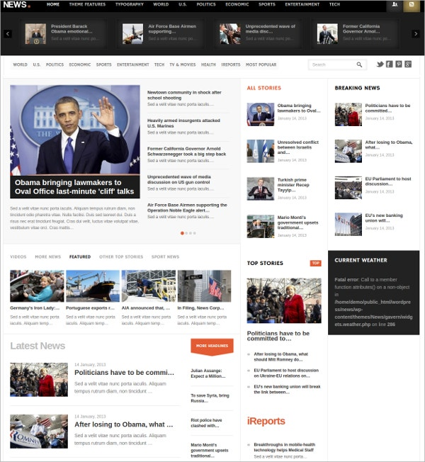 news reporting wordpress theme