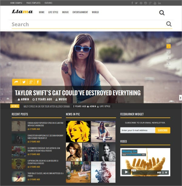 Dark Magazine & News WordPress Theme $44