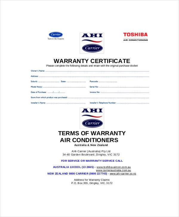 Warranty Certificate Template   Free Word Pdf Documents