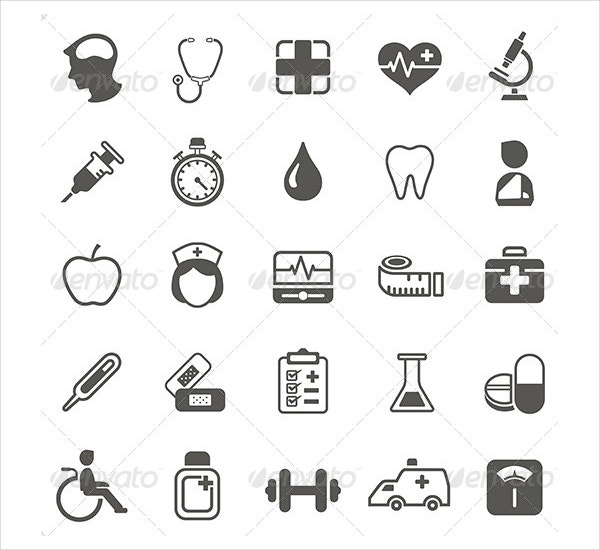 medical health icons set