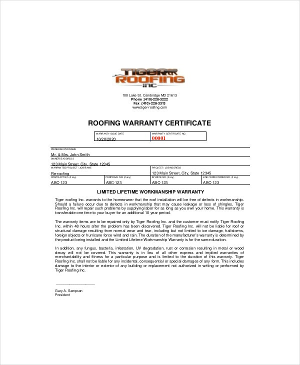 Warranty certificate template 9 free word pdf for Roofing warranty certificate template free