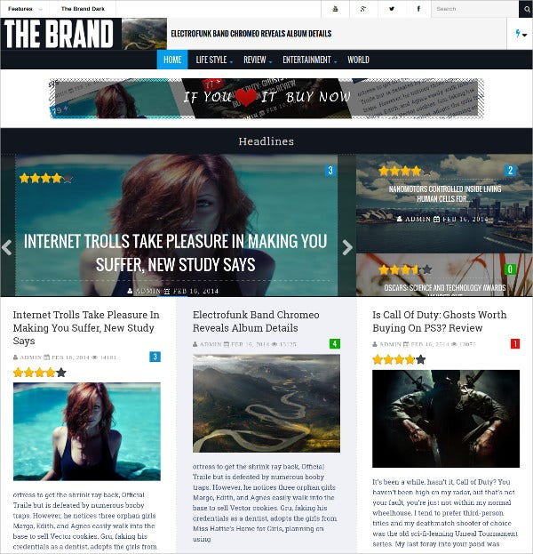 Responsive Magazine & News WordPress Theme $44