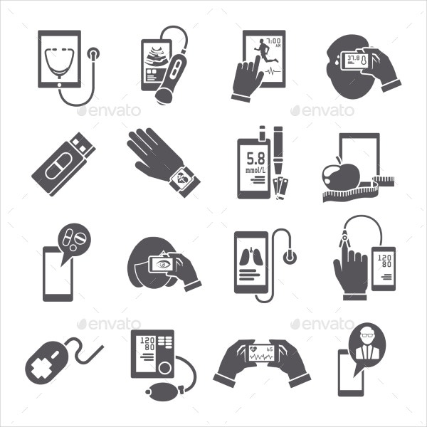 Mobile Health Diagnostic Icons