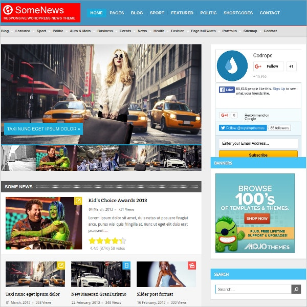 Responsive WordPress News Theme $49