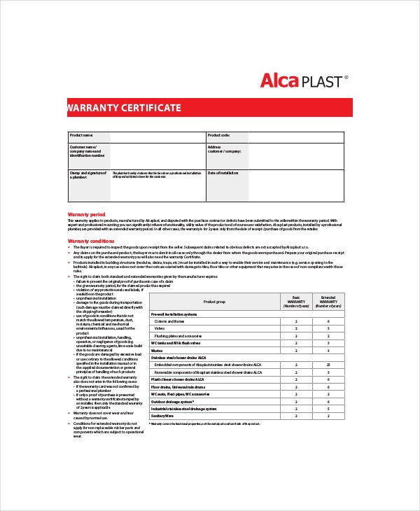 Warranty certificate template 9 free word pdf documents alca plast warranty certificate yelopaper Choice Image