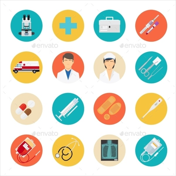 medical care equipment icons