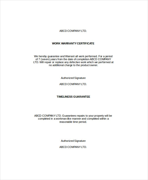 Warranty certificate template 9 free word pdf for Workmanship guarantee template