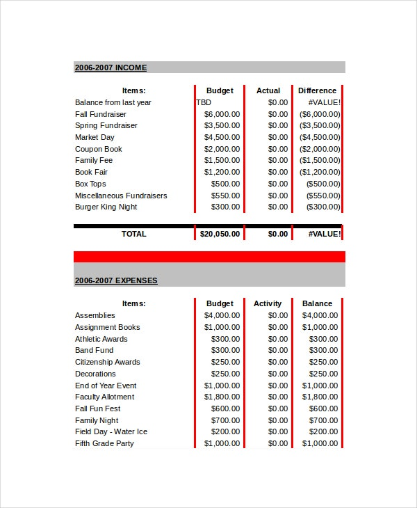 School Budget Template   Free Word Excel Pdf Documents
