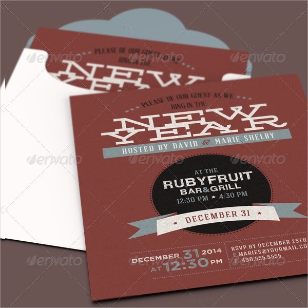 Official New Year Party Invitation Card Template