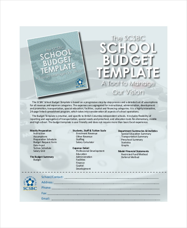 School Budget Template 8 Free Word Excel PDF Documents – Budget Summary Template