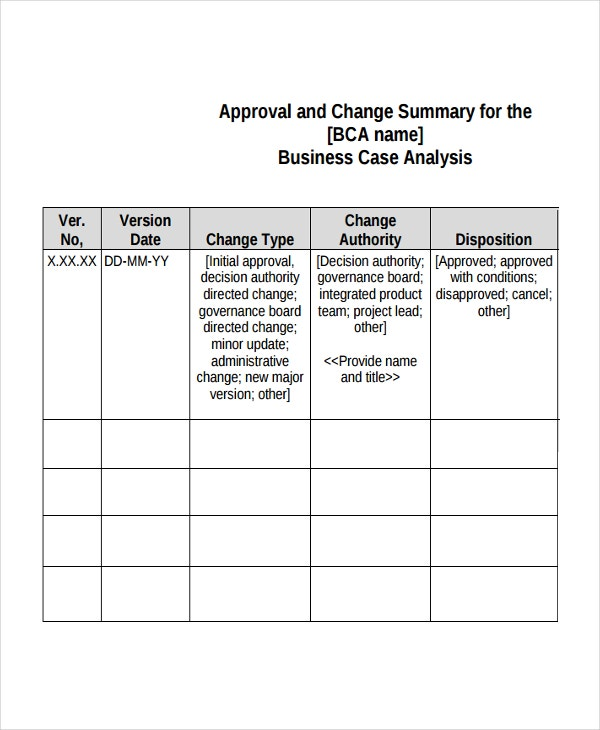 business case customer analysis template