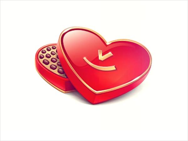 Glossy Heart Chocolate Box Template