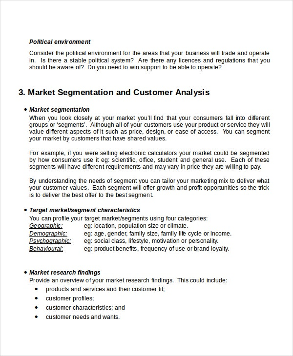 customer analysis marketing plan template