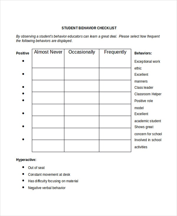 Student Behavior Checklist Template