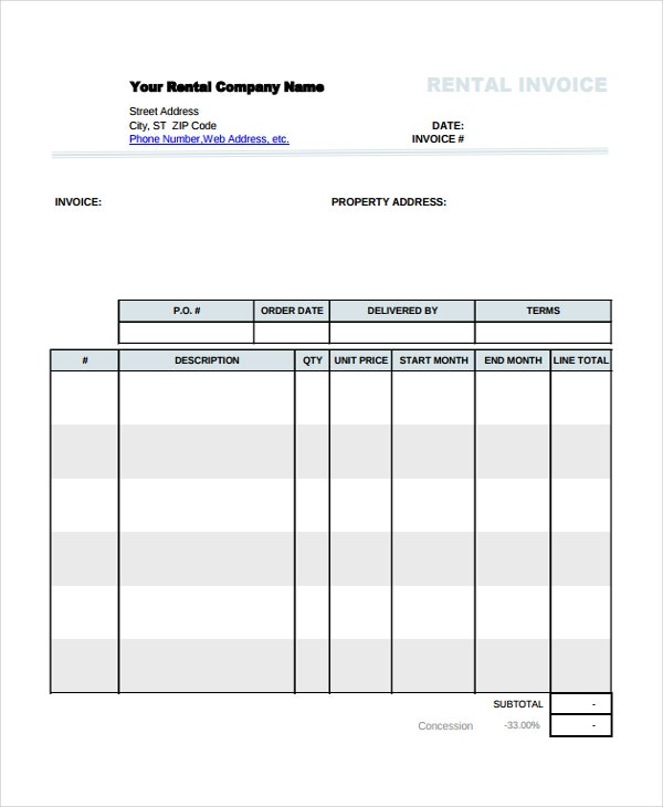Rental Invoice Template 5 Free Word PDF Document Download – Rental Receipts Templates