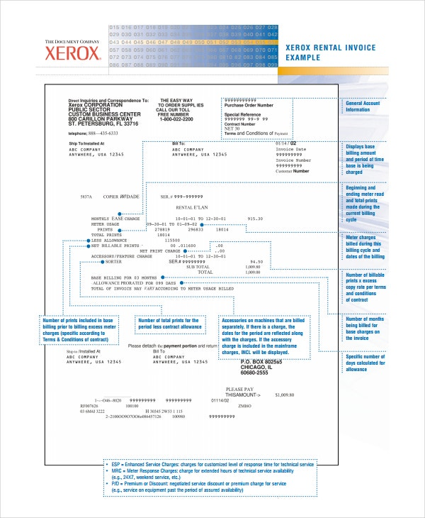 Xerox Rental Invoice Template Example