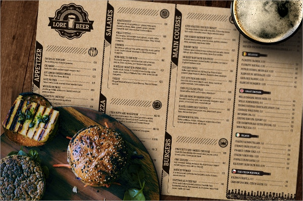 lore pub beer menu template
