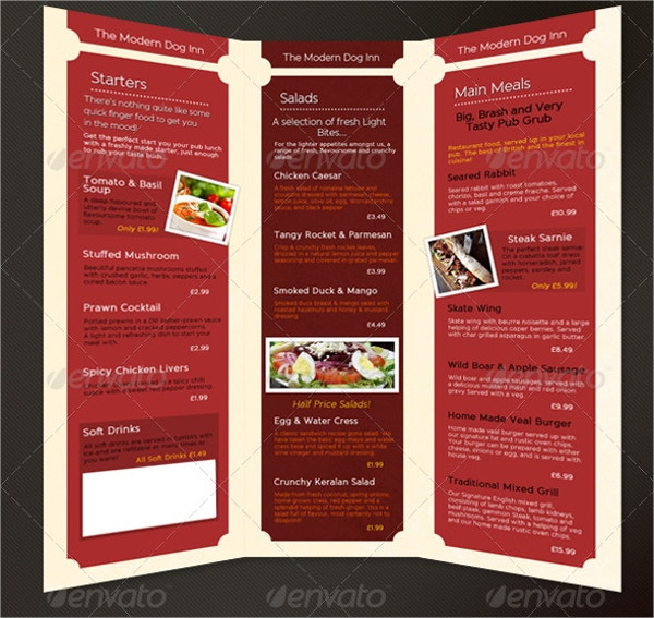 3 fold pub menu template