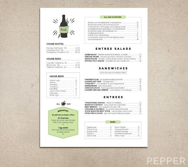 Custom Restaurant And Pub Menu Template