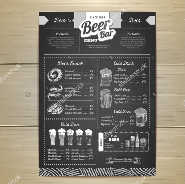 Vintage Pub Chalk Menu Template
