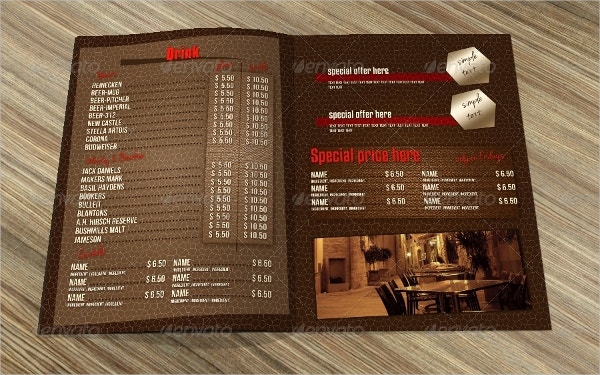 cafe bar pub menu template