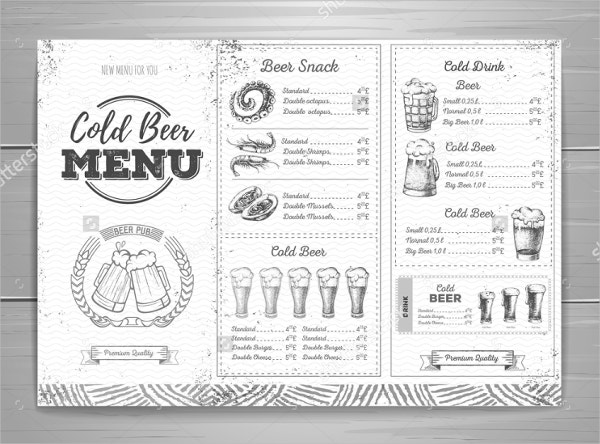 Vintage Beer Menu Design Template