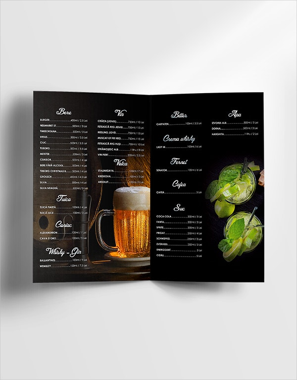 Pub Free Drinks Menu Template