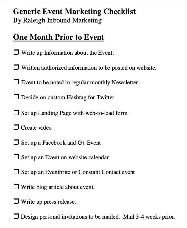 event marketing checklist template