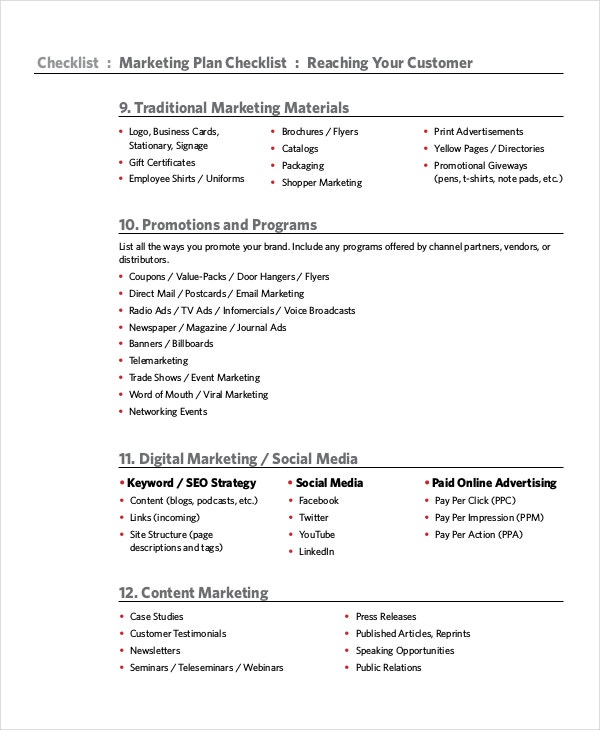 marketing plan checklist template