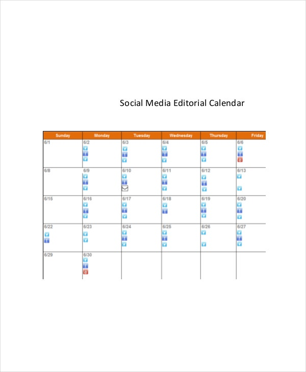 Social Media Calendar Template 7 Free Word Excel Pdf Documents
