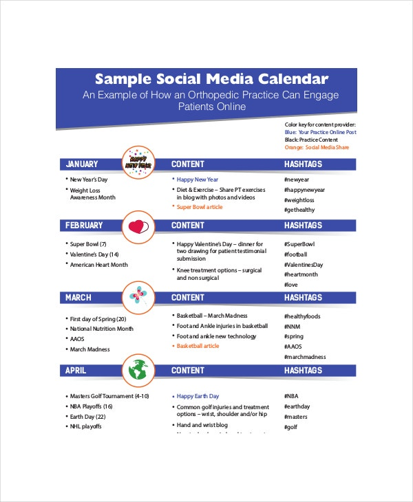 Social Media Calendar Template 7 Free Word Excel PDF – Sample Social Media Calendar