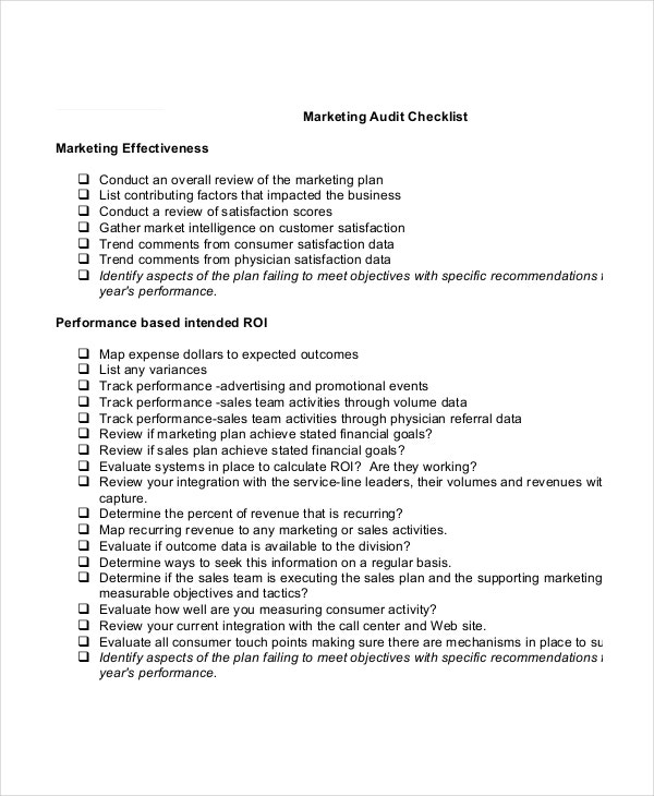 Marketing Checklist Template 10 Free Word PDF Documents – Audit Checklist Template