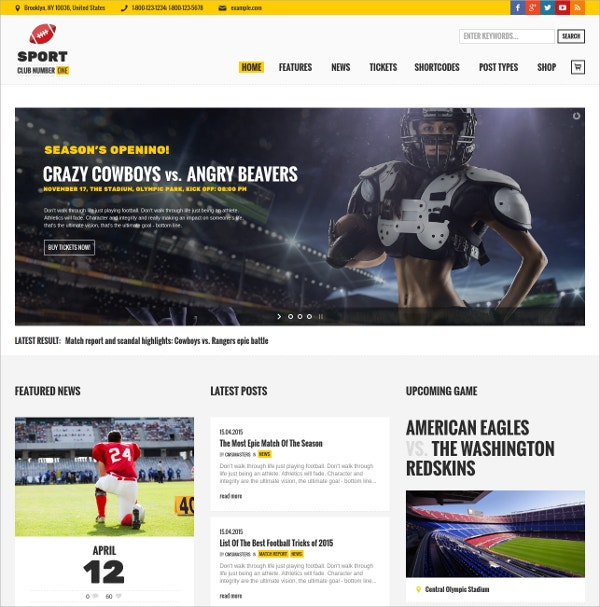 Sports Club Team News WordPress Theme