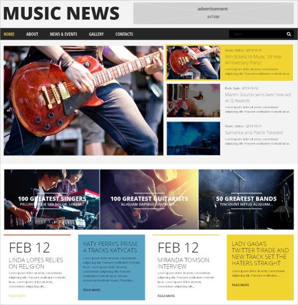 Music Events News WordPress Theme $75