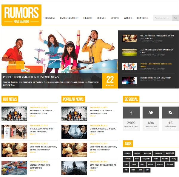 Rumour News WordPress Theme $49