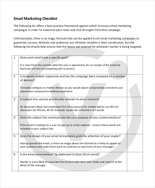 Marketing checklist template 10 free word pdf documents 10 marketing checklist templates pronofoot35fo Image collections