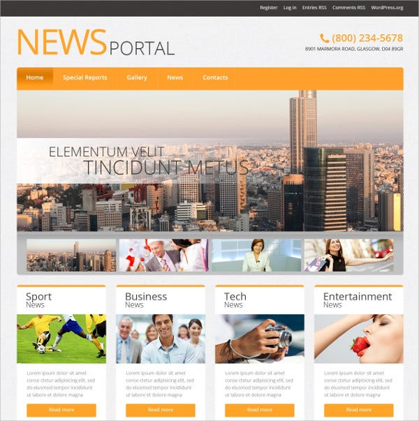 Creative News Portal WordPress Theme $75