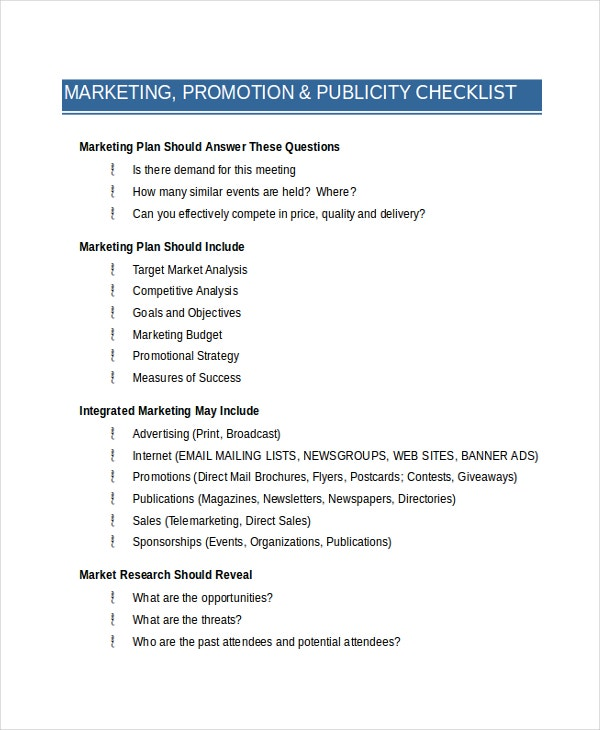 Marketing & Promo Checklist