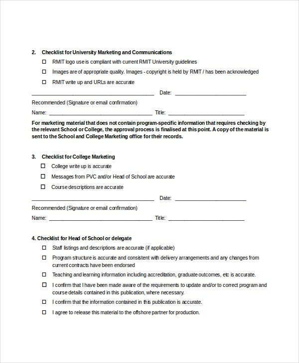 Offshore Marketing Checklist & Approval Form