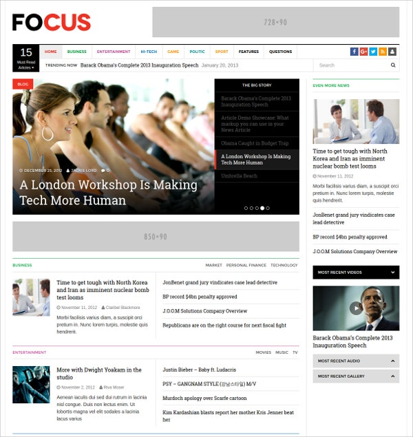 Modern, Design WordPress News Theme