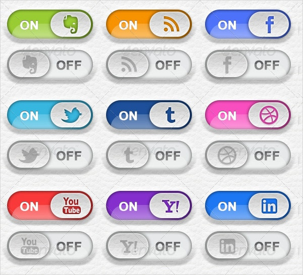 toggle switch social media button